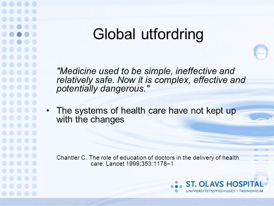 Årsaker (1) Svikt i totalkompetanse i pasientforløpet –Galt behandlingssted, overbehandling, underbehandling Svikt i utførelsen Svikt i teknisk utstyr Individuell svikt hos helsepersonell
