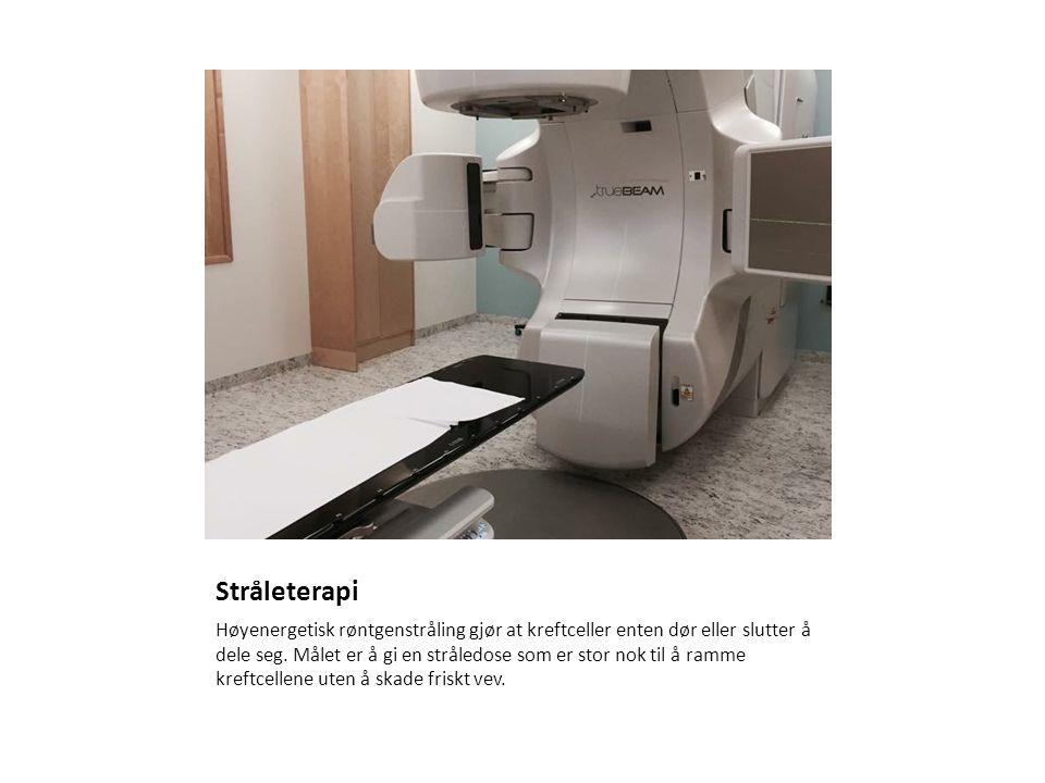 Stråleterapi Høyenergetisk røntgenstråling gjør at kreftceller enten dør eller slutter å dele seg.