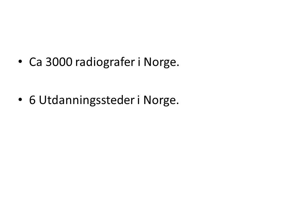 Ca 3000 radiografer i Norge. 6 Utdanningssteder i Norge.