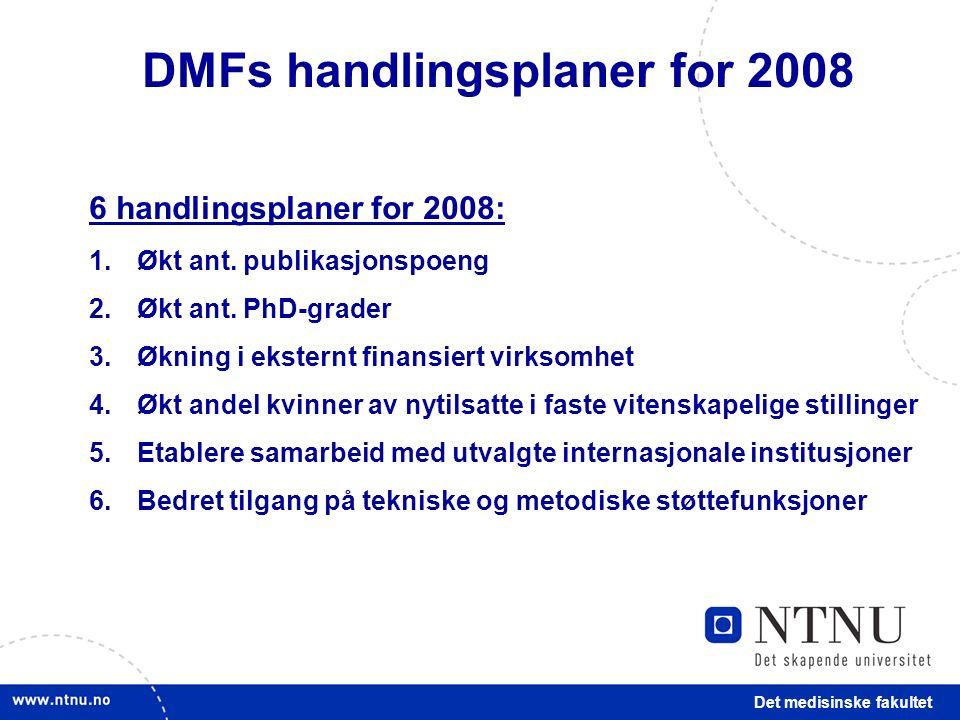 Det medisinske fakultet 6 handlingsplaner for 2008: 1.Økt ant.