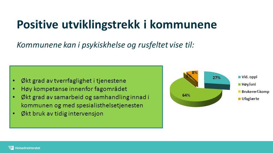 Positive utviklingstrekk i kommunene Kommunene kan i psykiskhelse og rusfeltet vise til: Økt grad av tverrfaglighet i tjenestene Høy kompetanse innenf