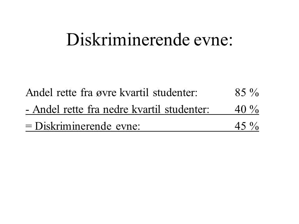 Diskriminerende evne: Andel rette fra øvre kvartil studenter: 85 % - Andel rette fra nedre kvartil studenter:40 % = Diskriminerende evne:45 %