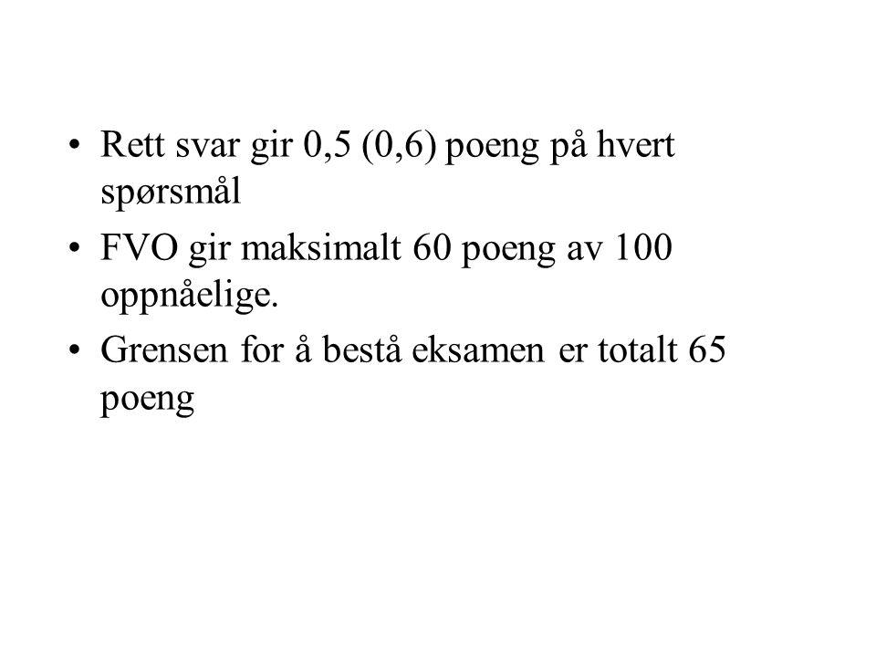 Rett svar gir 0,5 (0,6) poeng på hvert spørsmål FVO gir maksimalt 60 poeng av 100 oppnåelige.