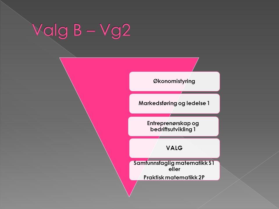 ØkonomistyringMarkedsføring og ledelse 1 Entreprenørskap og bedriftsutvikling 1 VALG Samfunnsfaglig matematikk S1 eller Praktisk matematikk 2P