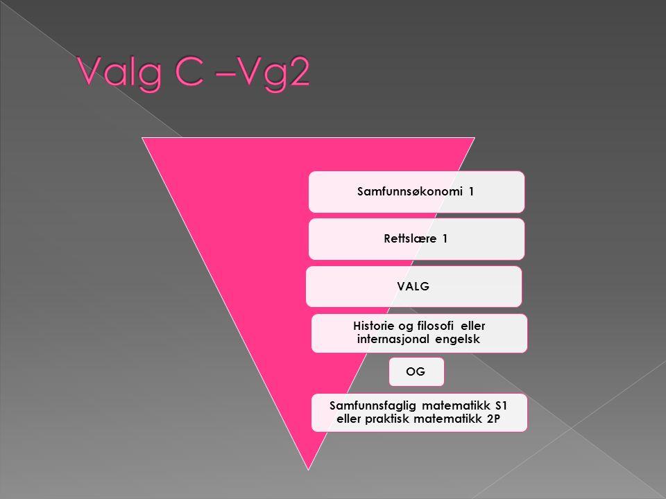 Samfunnsøkonomi 2Rettslære 2 Avhengig av fag du valgte i Vg2: Samfunnsfaglig matematikk S2 (hvis S1) Kultur og kommunikasjon 3 (hvis 2P og HIFI eller internasjonal engelsk)