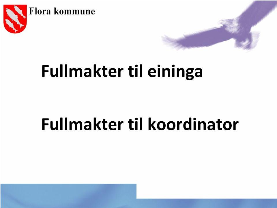Fullmakter til eininga Fullmakter til koordinator
