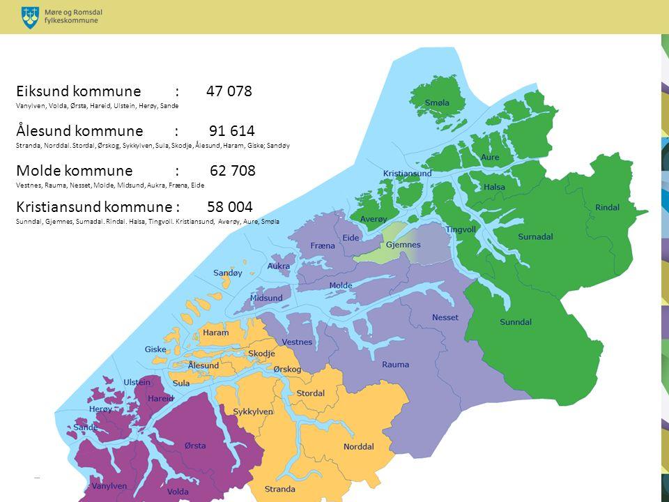 Eiksund kommune : 47 078 Vanylven, Volda, Ørsta, Hareid, Ulstein, Herøy, Sande Ålesund kommune : 91 614 Stranda, Norddal.