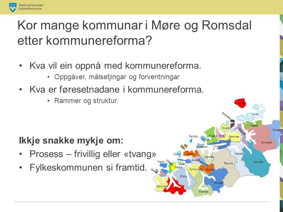 Kor mange kommunar i Møre og Romsdal etter kommunereforma.