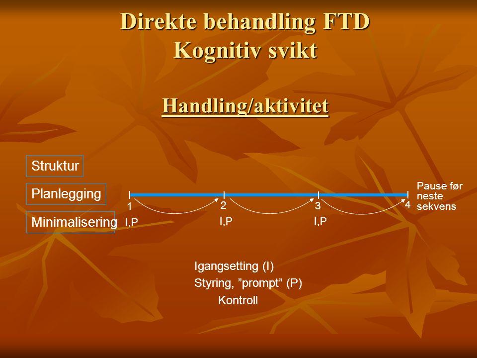 Direkte behandling FTD Kognitiv svikt Handling/aktivitet Struktur Planlegging Minimalisering Pause før neste sekvens 1 2 3 4 I,P Igangsetting (I) Styr