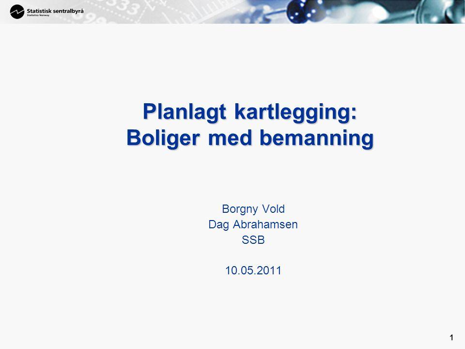 1 1 Planlagt kartlegging: Boliger med bemanning Borgny Vold Dag Abrahamsen SSB 10.05.2011