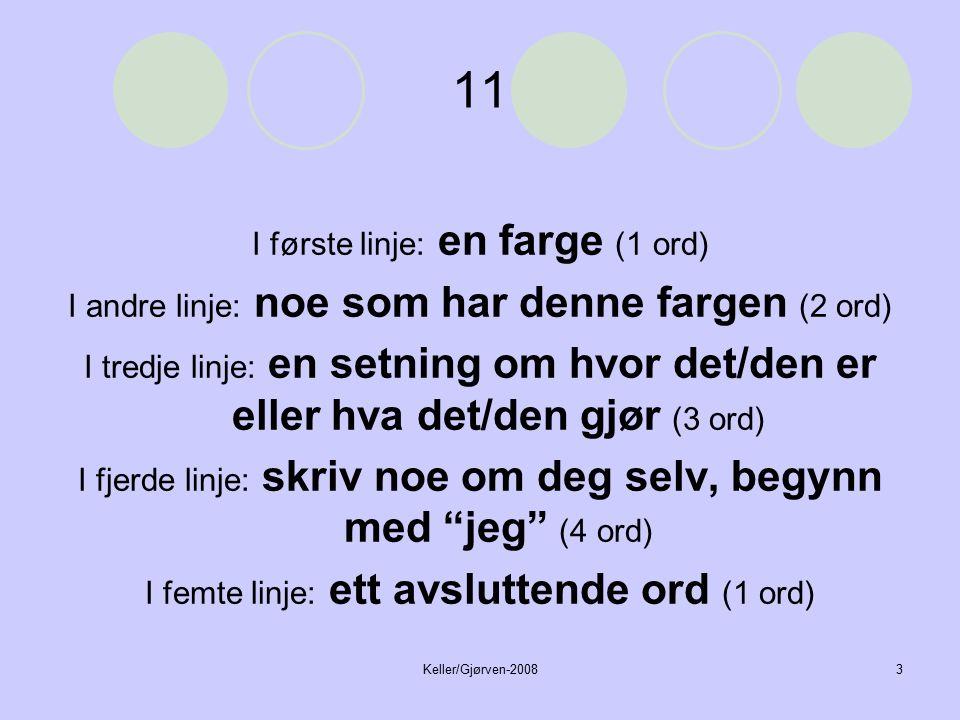 Keller/Gjørven-20083 11 I første linje: en farge (1 ord) I andre linje: noe som har denne fargen (2 ord) I tredje linje: en setning om hvor det/den er eller hva det/den gjør (3 ord) I fjerde linje: skriv noe om deg selv, begynn med jeg (4 ord) I femte linje: ett avsluttende ord (1 ord)