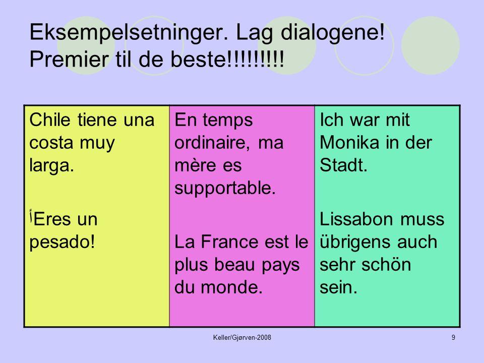 Keller/Gjørven-20089 Eksempelsetninger. Lag dialogene.