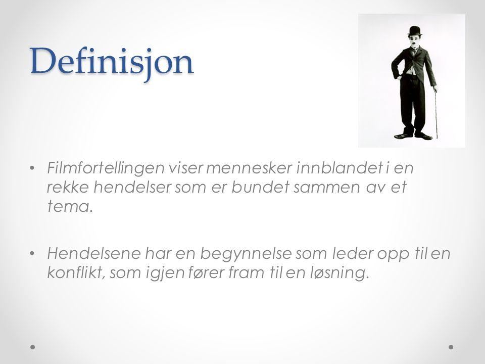 Definisjon Filmfortellingen viser mennesker innblandet i en rekke hendelser som er bundet sammen av et tema.