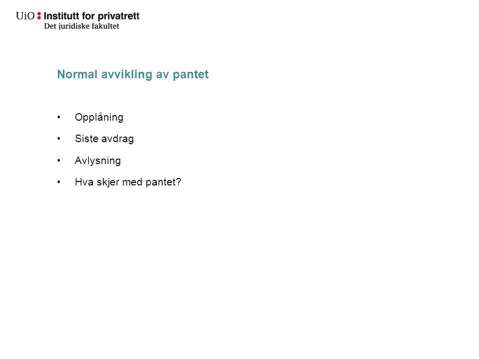 Normal avvikling av pantet Opplåning Siste avdrag Avlysning Hva skjer med pantet?