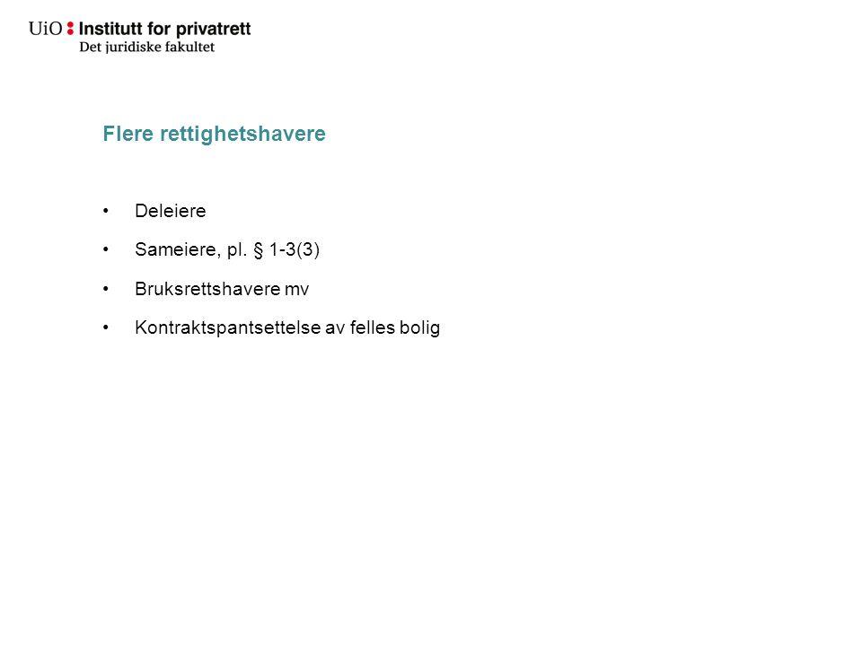 Flere rettighetshavere Deleiere Sameiere, pl. § 1-3(3) Bruksrettshavere mv Kontraktspantsettelse av felles bolig