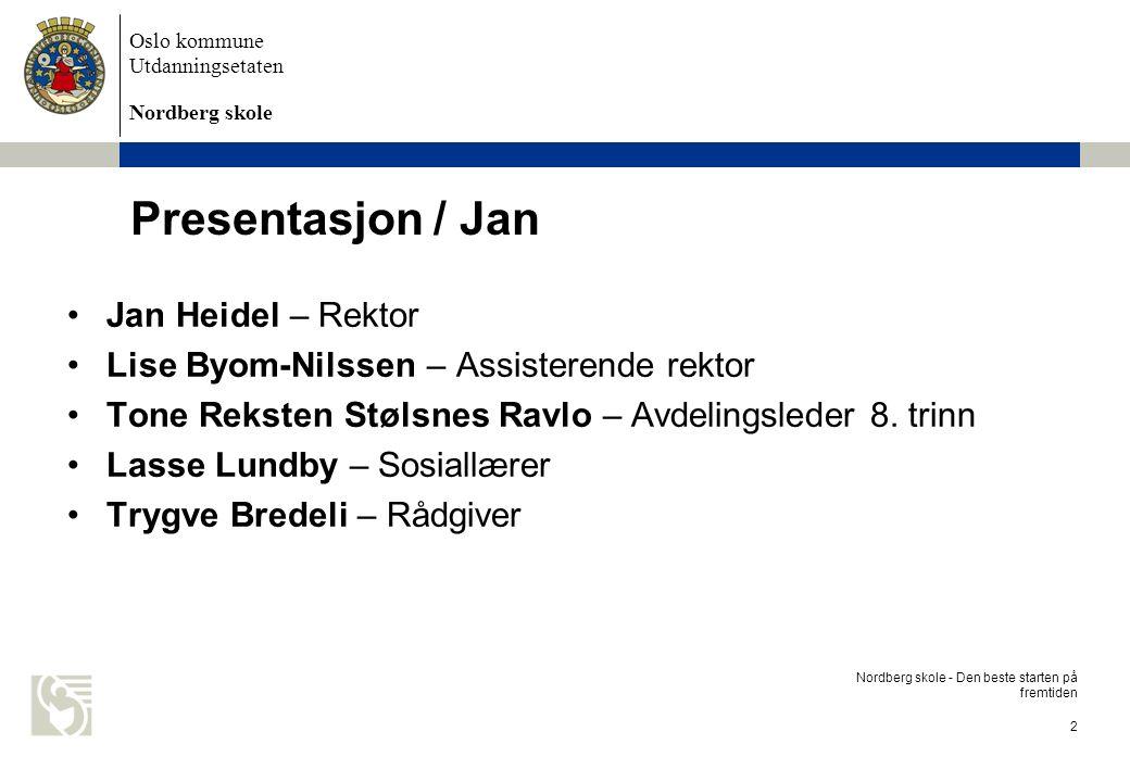 Oslo kommune Utdanningsetaten Nordberg skole Organisajsonskart Nordberg skole - Den beste starten på fremtiden 3 UDA DSRektor Jan Heidel Avdelingsleder 8.