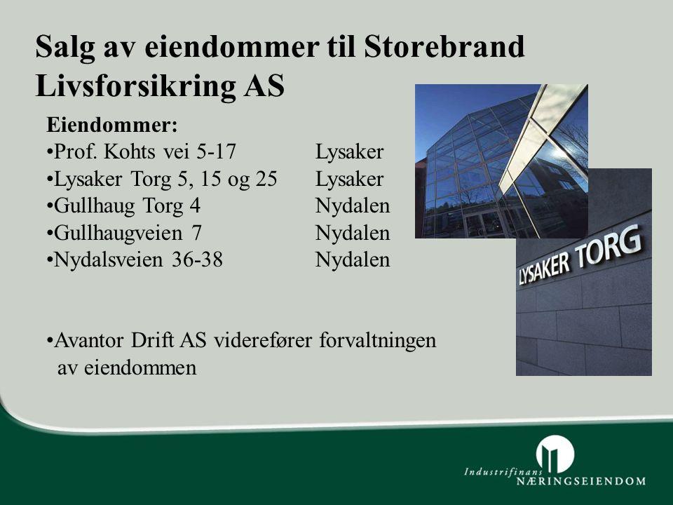 Salg av eiendommer til Storebrand Livsforsikring AS Eiendommer: Prof. Kohts vei 5-17Lysaker Lysaker Torg 5, 15 og 25 Lysaker Gullhaug Torg 4Nydalen Gu