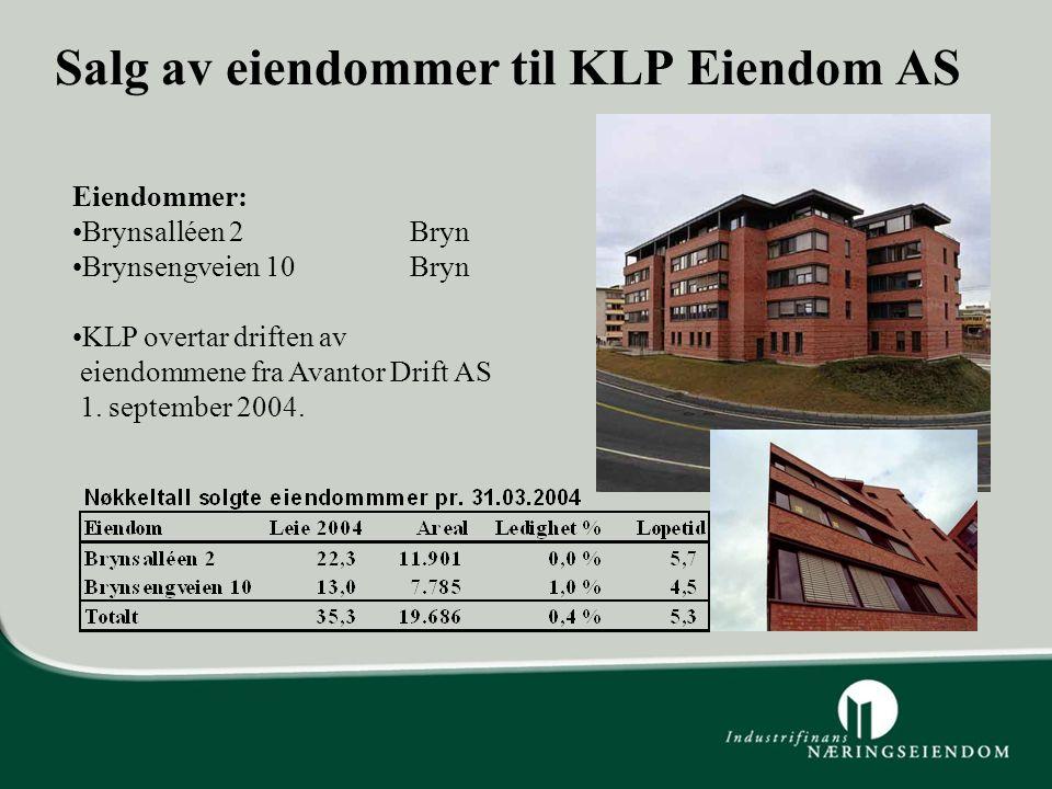 Salg av eiendommer til KLP Eiendom AS Eiendommer: Brynsalléen 2 Bryn Brynsengveien 10 Bryn KLP overtar driften av eiendommene fra Avantor Drift AS 1.