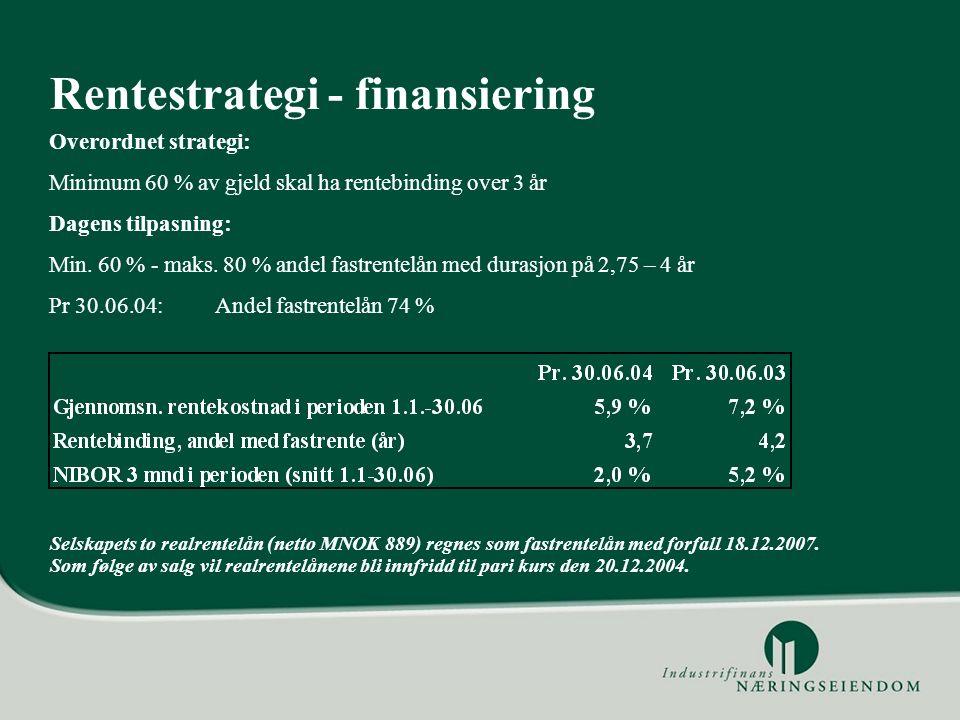 Selskapets to realrentelån (netto MNOK 889) regnes som fastrentelån med forfall 18.12.2007. Som følge av salg vil realrentelånene bli innfridd til par