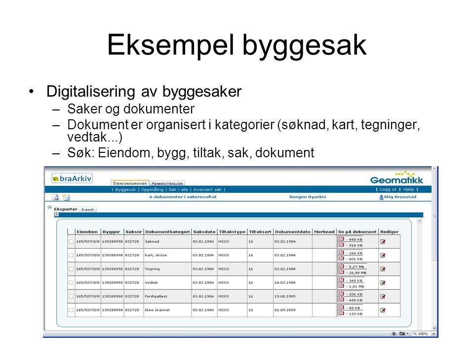 Eksempel byggesak Digitalisering av byggesaker –Saker og dokumenter –Dokument er organisert i kategorier (søknad, kart, tegninger, vedtak...) –Søk: Eiendom, bygg, tiltak, sak, dokument