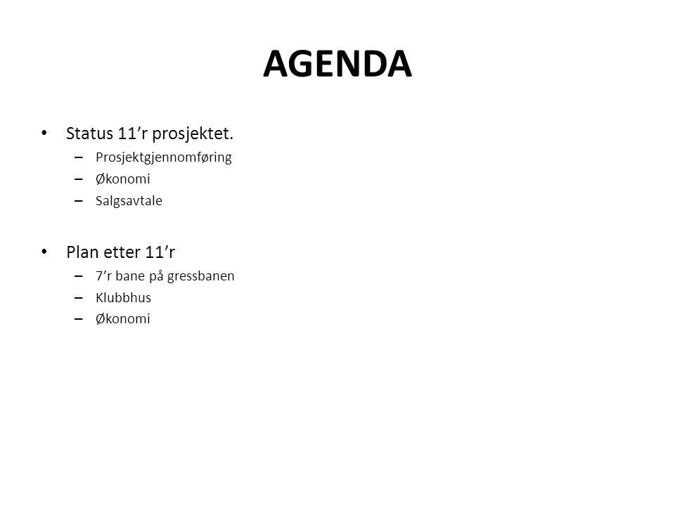 AGENDA Status 11'r prosjektet. – Prosjektgjennomføring – Økonomi – Salgsavtale Plan etter 11'r – 7'r bane på gressbanen – Klubbhus – Økonomi