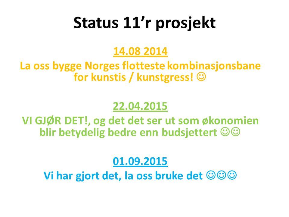 Status 11'r prosjekt 14.08 2014 La oss bygge Norges flotteste kombinasjonsbane for kunstis / kunstgress.
