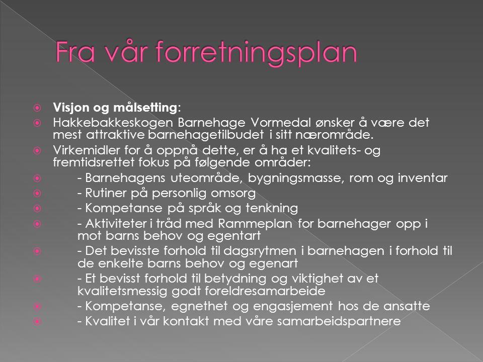  Visjon og målsetting :  Hakkebakkeskogen Barnehage Vormedal ønsker å være det mest attraktive barnehagetilbudet i sitt nærområde.