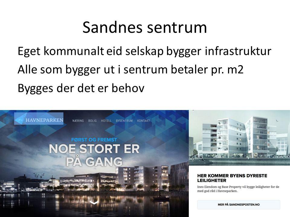 Sandnes sentrum Eget kommunalt eid selskap bygger infrastruktur Alle som bygger ut i sentrum betaler pr.