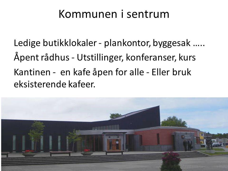 Kommunen i sentrum Ledige butikklokaler - plankontor, byggesak …..