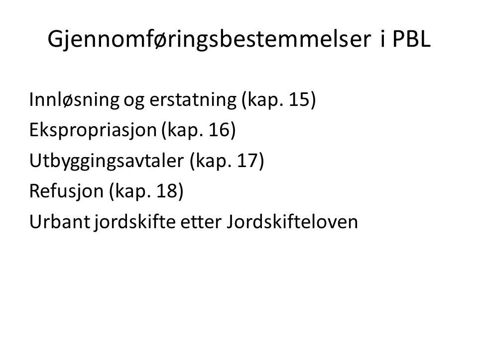 Gjennomføringsbestemmelser i PBL Innløsning og erstatning (kap.