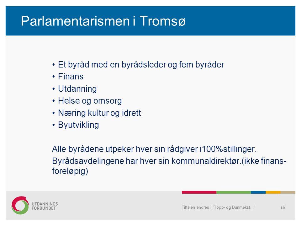 Parlamentarismen i Tromsø Et byråd med en byrådsleder og fem byråder Finans Utdanning Helse og omsorg Næring kultur og idrett Byutvikling Alle byrådene utpeker hver sin rådgiver i100%stillinger.