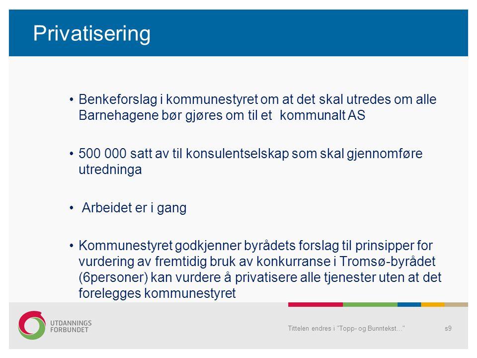 Privatisering – gi fra seg kontrollen Politikerne ikke innsyn i regnskap Ikke direkte instruksjonsmyndighet Kommersielle aktører overtar Vanskelig tilgjengelige selskapsformer Tittelen endres i Topp- og Bunntekst... s10