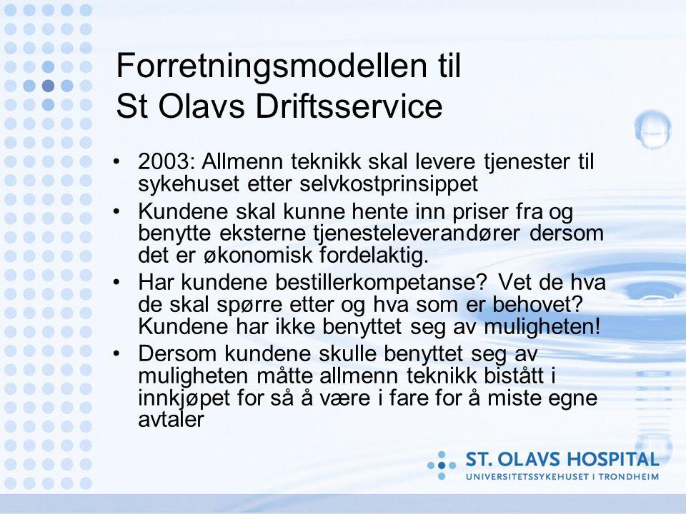 Forretningsmodellen til St Olavs Driftsservice 2003: Allmenn teknikk skal levere tjenester til sykehuset etter selvkostprinsippet Kundene skal kunne hente inn priser fra og benytte eksterne tjenesteleverandører dersom det er økonomisk fordelaktig.