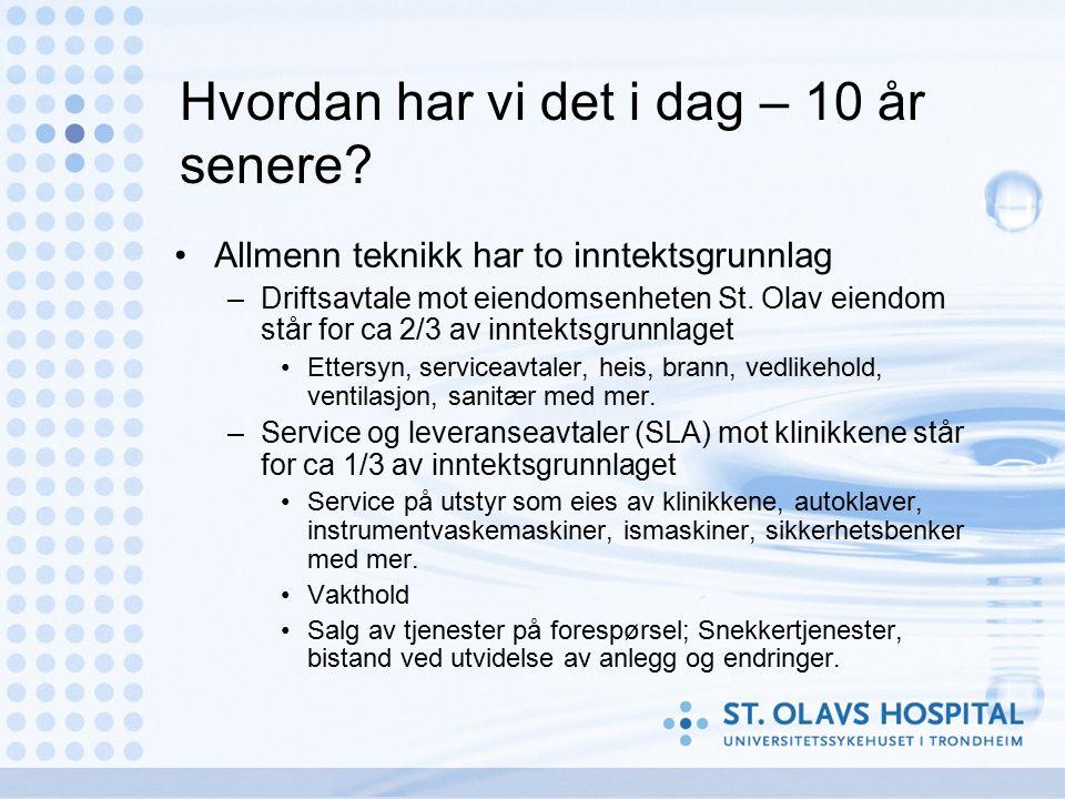 Hvordan har vi det i dag – 10 år senere? Allmenn teknikk har to inntektsgrunnlag –Driftsavtale mot eiendomsenheten St. Olav eiendom står for ca 2/3 av