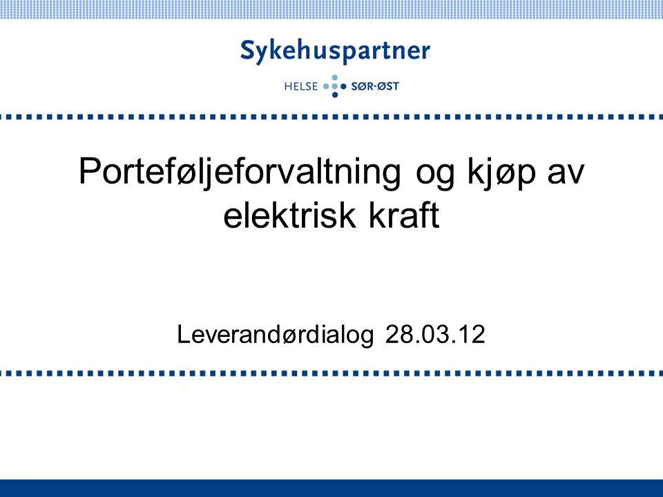 Porteføljeforvaltning og kjøp av elektrisk kraft Leverandørdialog 28.03.12