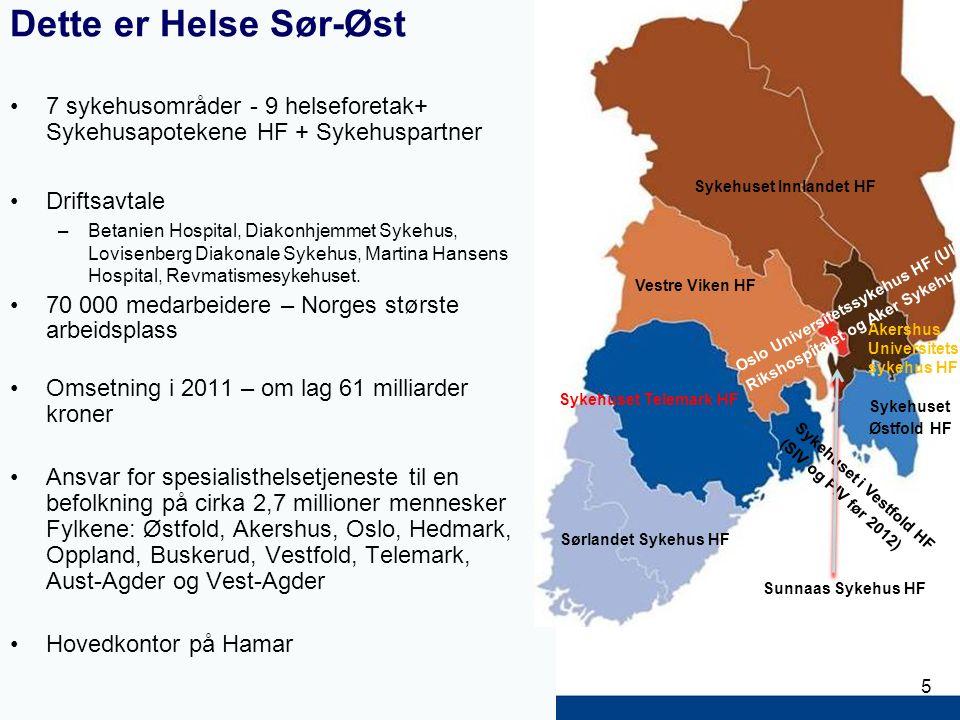 5 Dette er Helse Sør-Øst 7 sykehusområder - 9 helseforetak+ Sykehusapotekene HF + Sykehuspartner Driftsavtale –Betanien Hospital, Diakonhjemmet Sykehus, Lovisenberg Diakonale Sykehus, Martina Hansens Hospital, Revmatismesykehuset.