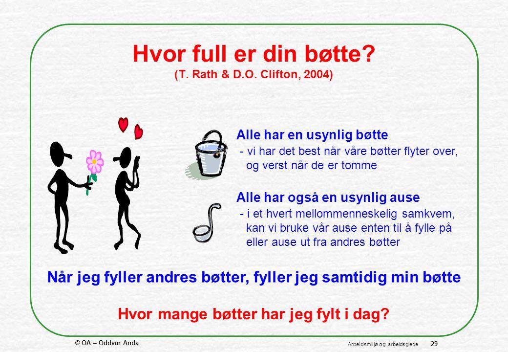 © OA – Oddvar Anda 29 Arbeidsmiljø og arbeidsglede Hvor full er din bøtte.