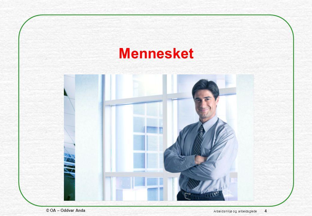 © OA – Oddvar Anda 4 Arbeidsmiljø og arbeidsglede Mennesket