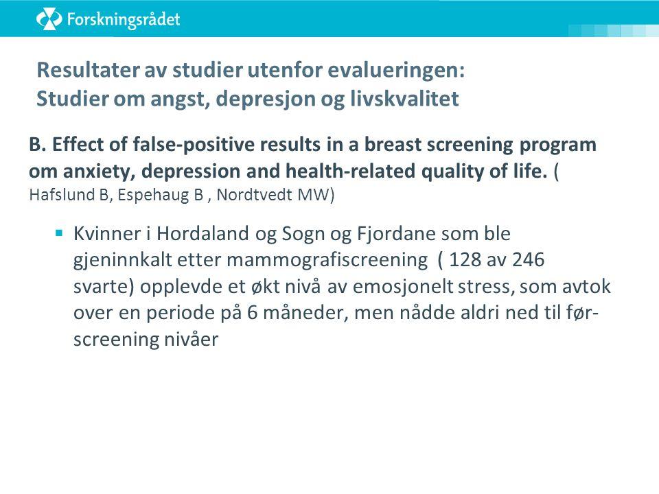 Resultater av studier utenfor evalueringen: Studier om angst, depresjon og livskvalitet B.