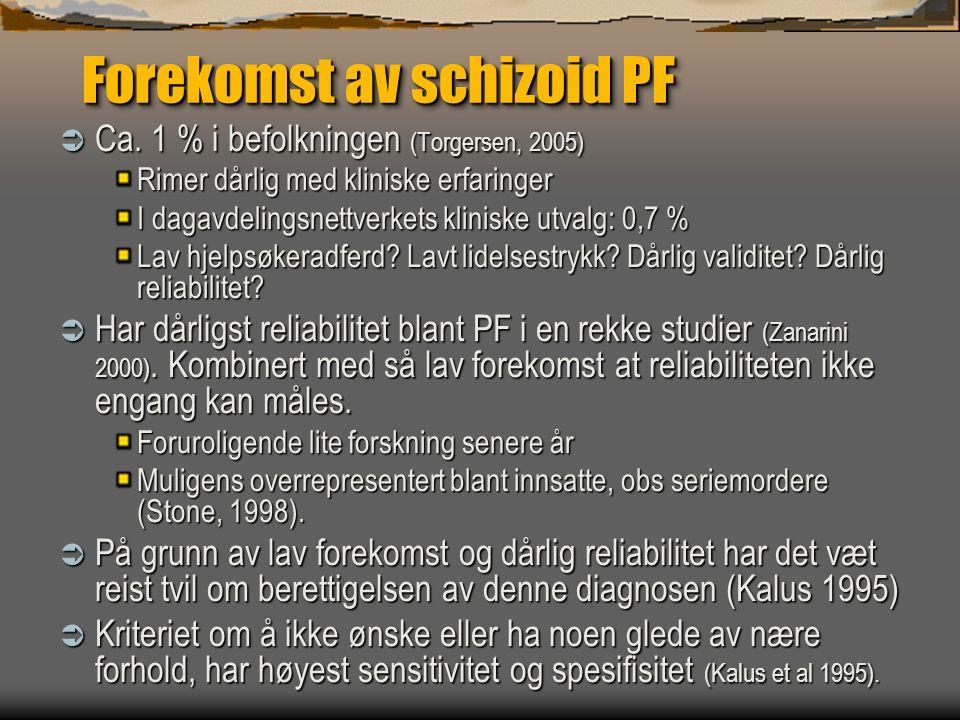 Forekomst av schizoid PF  Ca. 1 % i befolkningen (Torgersen, 2005) Rimer dårlig med kliniske erfaringer I dagavdelingsnettverkets kliniske utvalg: 0,