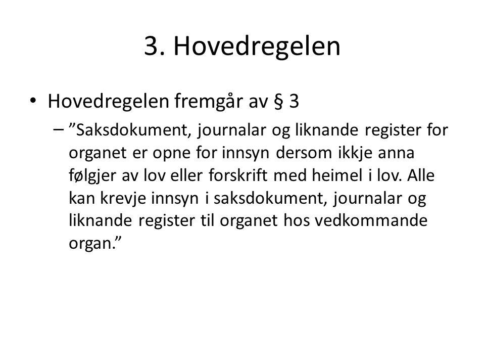 """3. Hovedregelen Hovedregelen fremgår av § 3 – """"Saksdokument, journalar og liknande register for organet er opne for innsyn dersom ikkje anna følgjer a"""