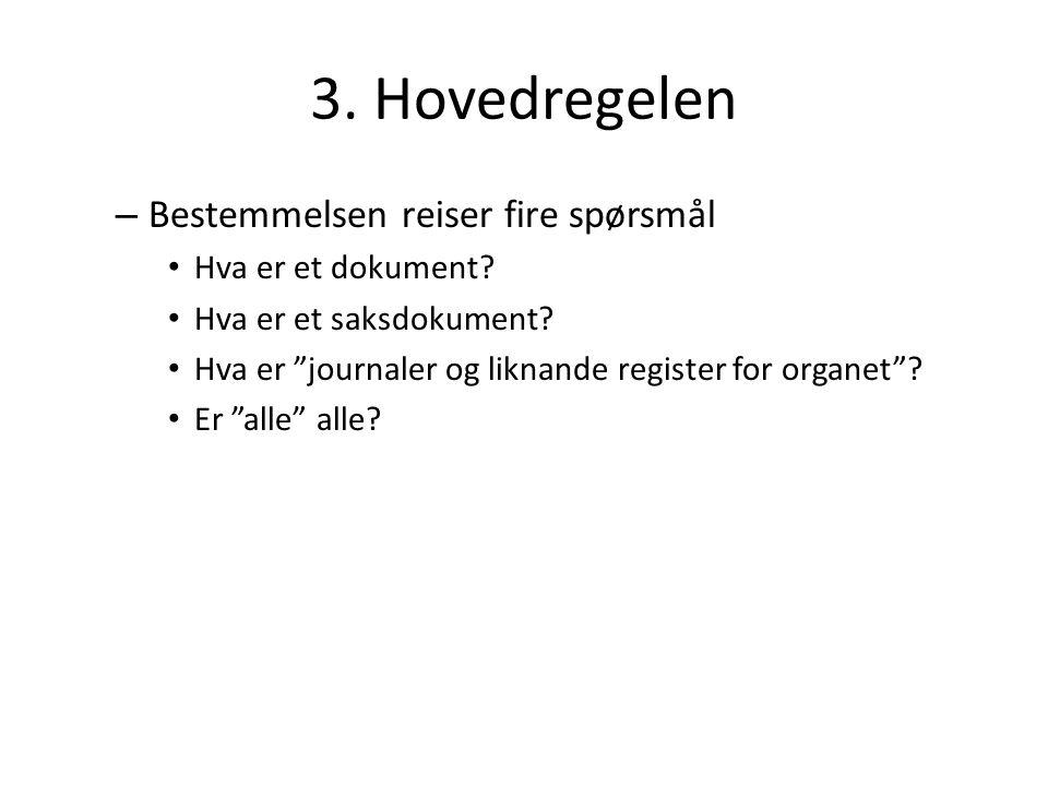 """3. Hovedregelen – Bestemmelsen reiser fire spørsmål Hva er et dokument? Hva er et saksdokument? Hva er """"journaler og liknande register for organet""""? E"""