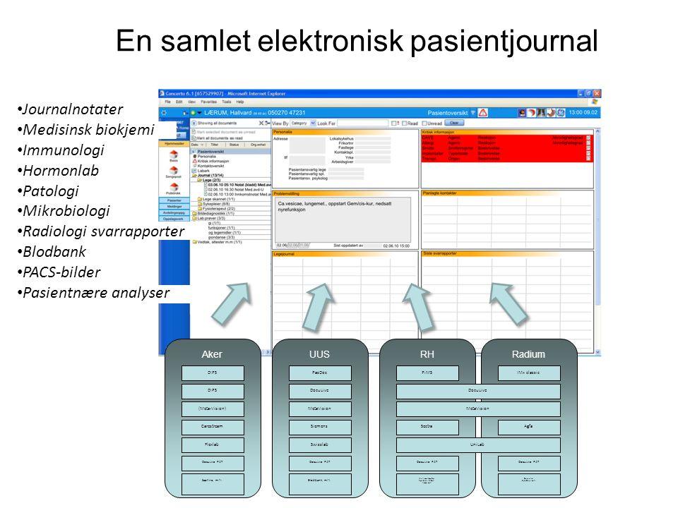 En samlet elektronisk pasientjournal AkerUUSRHRadium DIPS (Meta-Vision) Carestream Flexlab DocuLive PAT Saphire, m.fl.