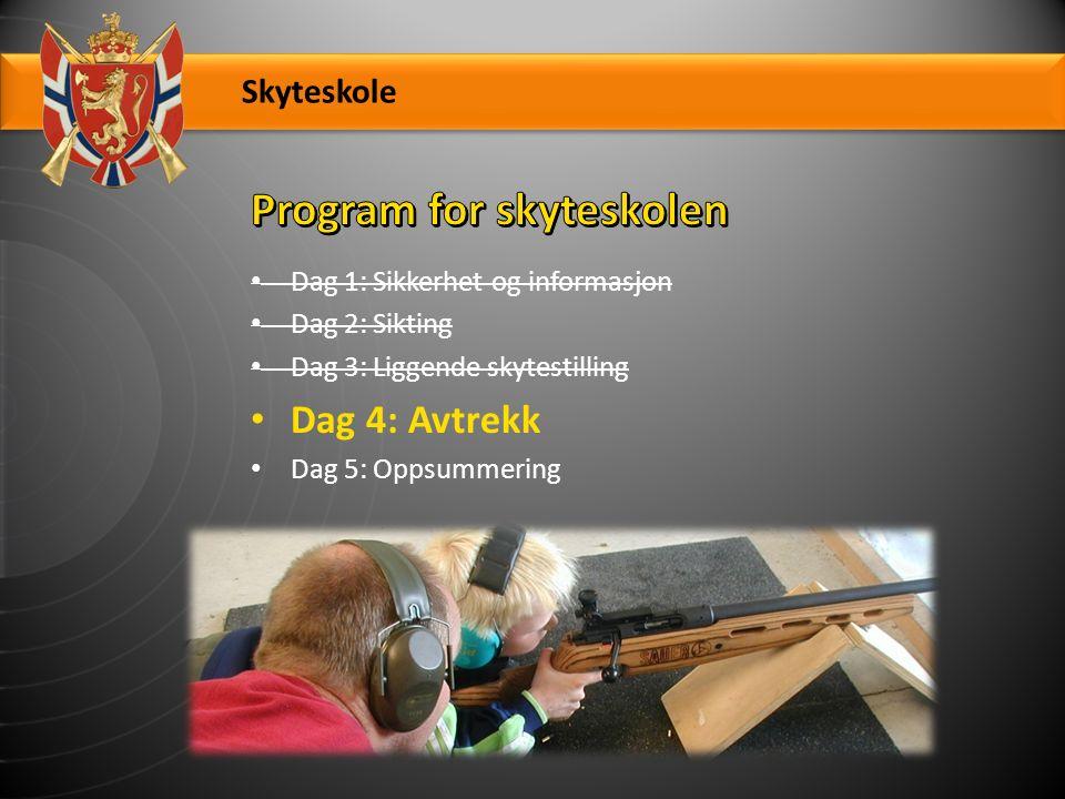 Skyteskole Dag 1: Sikkerhet og informasjon Dag 2: Sikting Dag 3: Liggende skytestilling Dag 4: Avtrekk Dag 5: Oppsummering