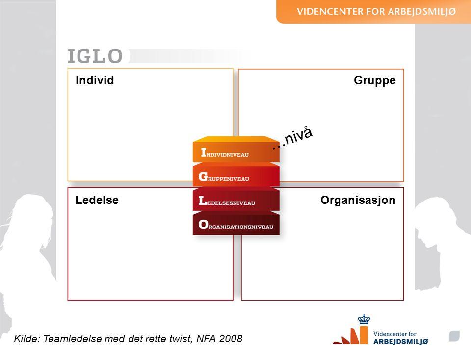 IndividGruppe OrganisasjonLedelse Kilde: Teamledelse med det rette twist, NFA 2008 …nivå