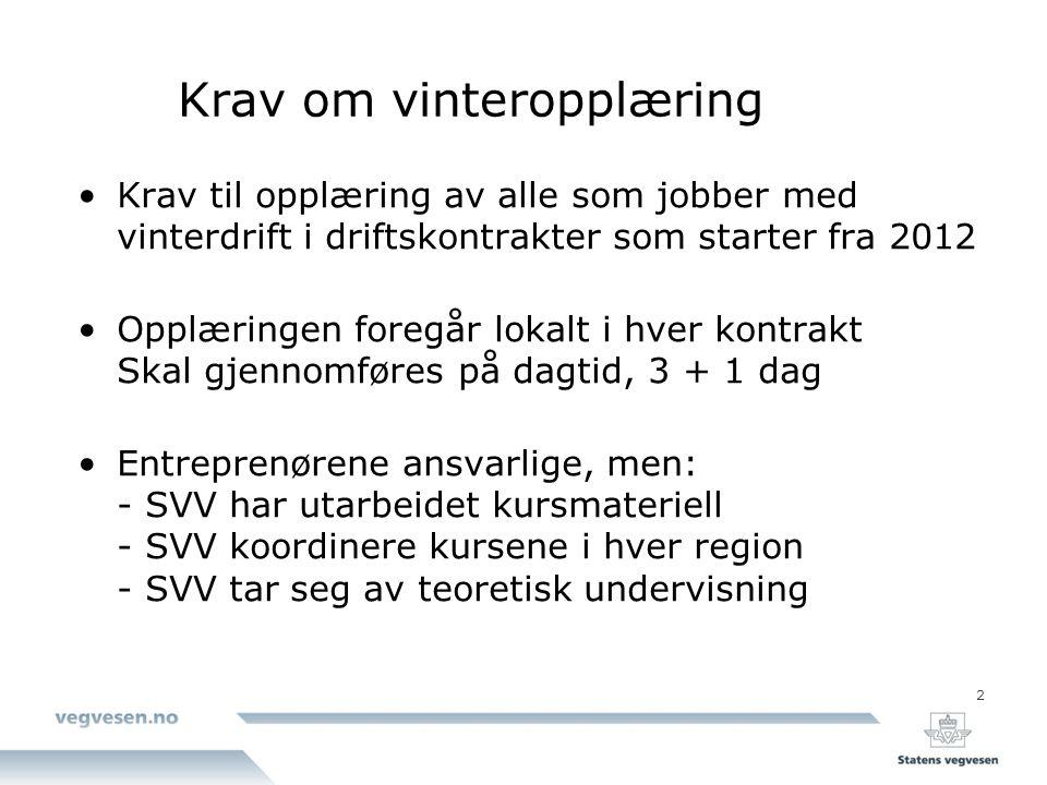 2 Krav om vinteropplæring Krav til opplæring av alle som jobber med vinterdrift i driftskontrakter som starter fra 2012 Opplæringen foregår lokalt i h