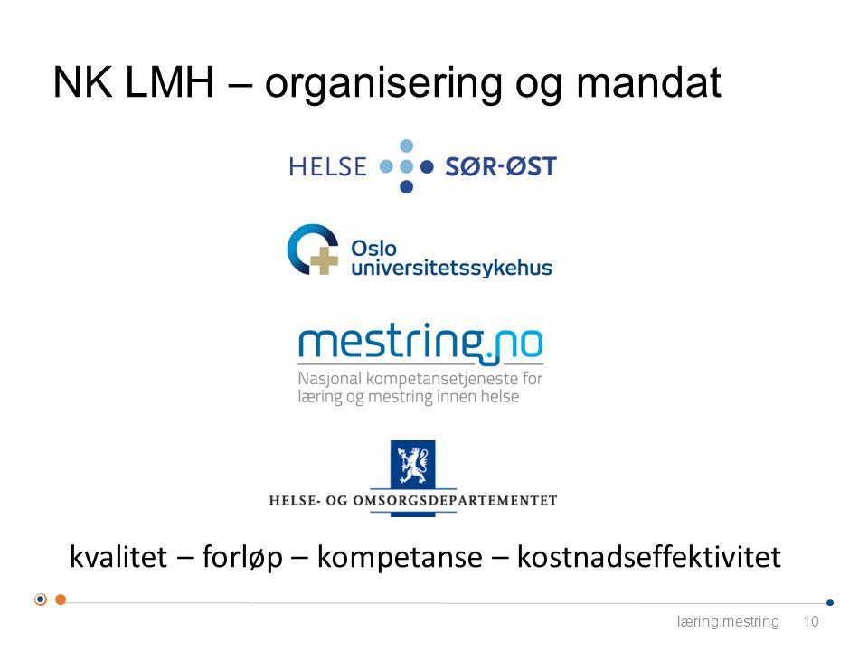 kvalitet – forløp – kompetanse – kostnadseffektivitet NK LMH – organisering og mandat læring:mestring10