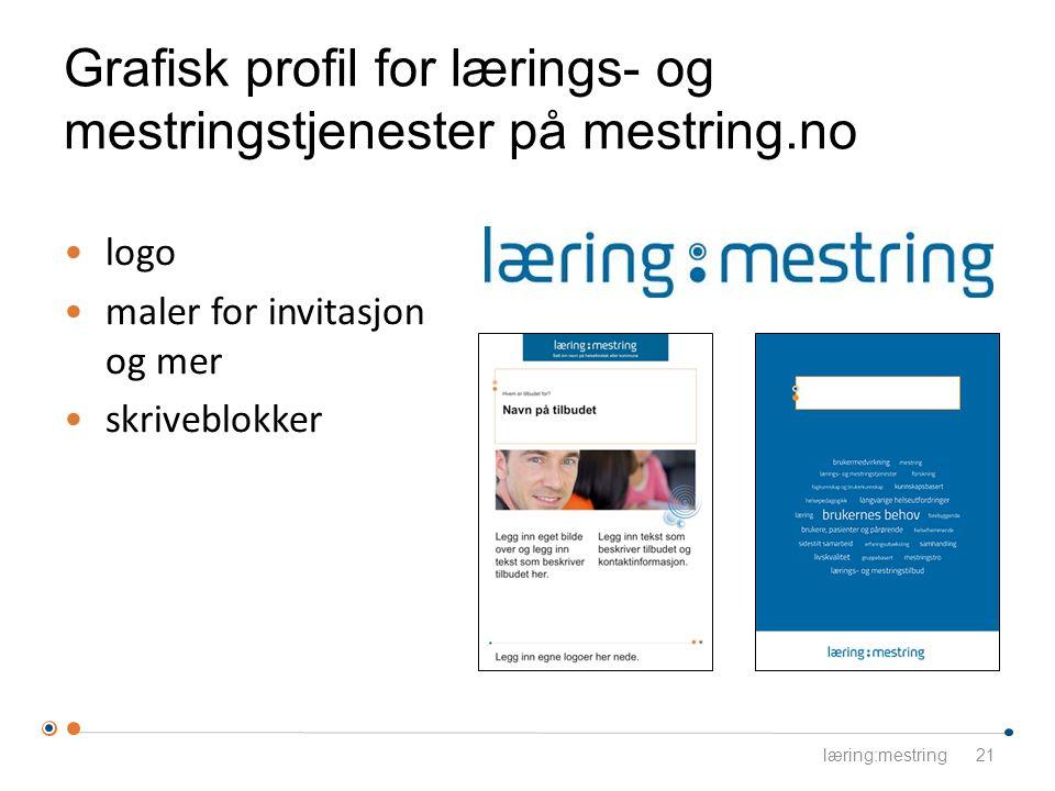 Grafisk profil for lærings- og mestringstjenester på mestring.no 21 logo maler for invitasjon og mer skriveblokker læring:mestring