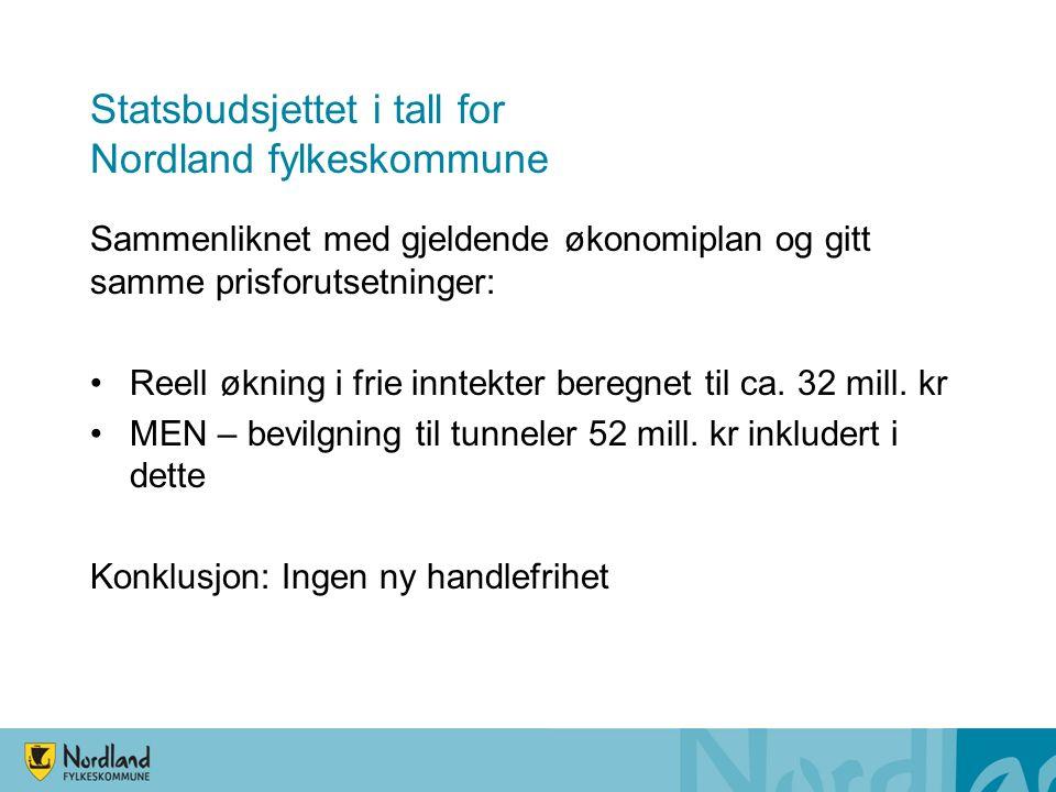 Statsbudsjettet i tall for Nordland fylkeskommune Sammenliknet med gjeldende økonomiplan og gitt samme prisforutsetninger: Reell økning i frie inntekter beregnet til ca.