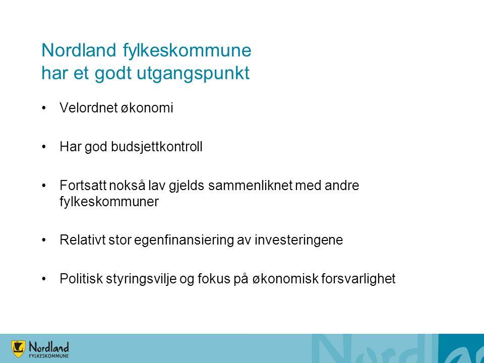 Nordland fylkeskommune har et godt utgangspunkt Velordnet økonomi Har god budsjettkontroll Fortsatt nokså lav gjelds sammenliknet med andre fylkeskommuner Relativt stor egenfinansiering av investeringene Politisk styringsvilje og fokus på økonomisk forsvarlighet